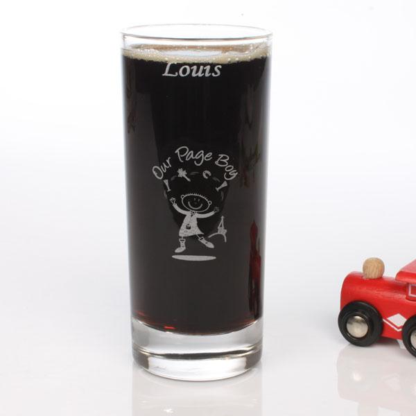Engraved Cartoon Page Boy Glass - Cartoon Gifts
