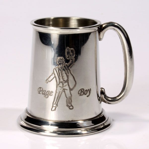 Engraved Page Boy Pewter Tankard