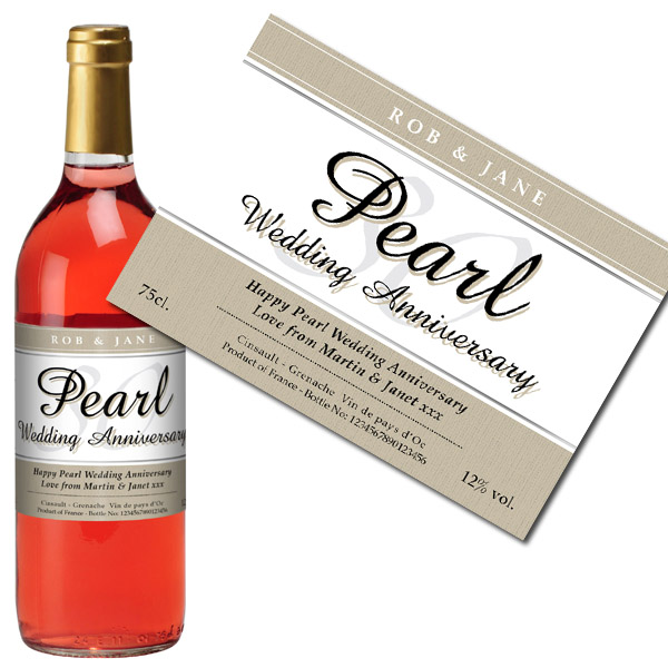Personalised Pearl Wedding Anniversary Rose Wine Case of 12 - Wedding Anniversary Gifts