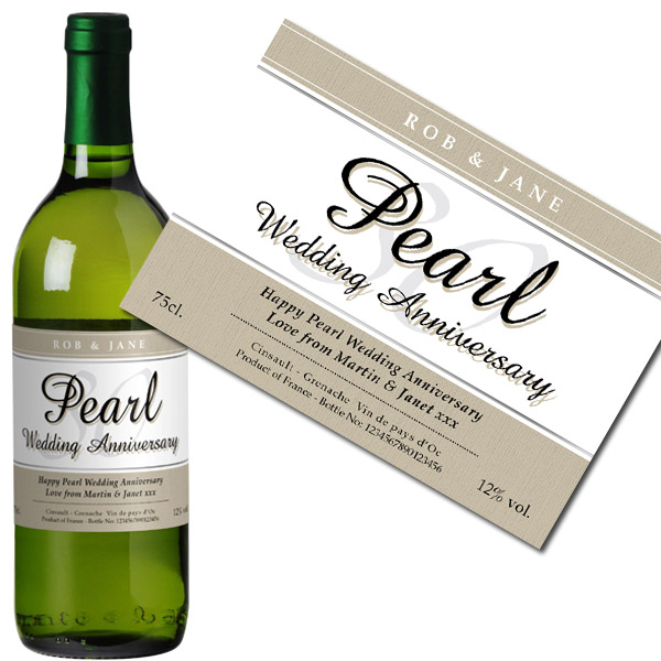 Personalised Pearl Wedding Anniversary White Wine Bottle in Gift Box - Wedding Anniversary Gifts
