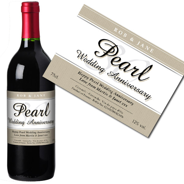 Personalised Pearl Wedding Anniversary Red Wine Bottle in Gift Box - Wedding Anniversary Gifts