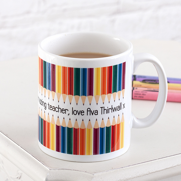 Personalised Teacher Mug - Pencil Design - Teacher Gifts