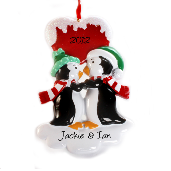 Personalised Kissing Penguins Hanging Ornament - Penguins Gifts