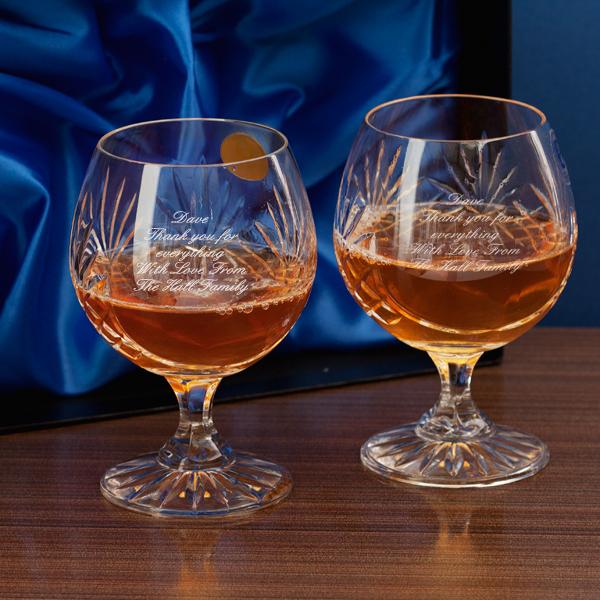 Engraved Pair Of Cut Crystal Brandy Glasses