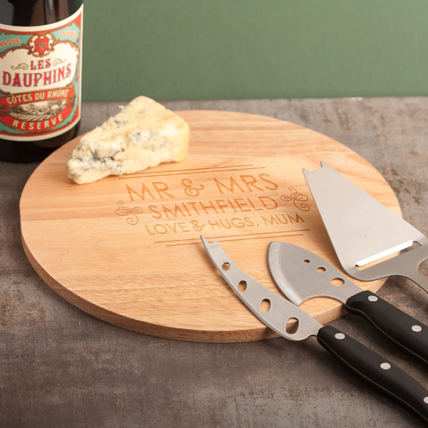 Personalised Mr & Mrs Cheese Board and Accessories Set - Cheese Gifts