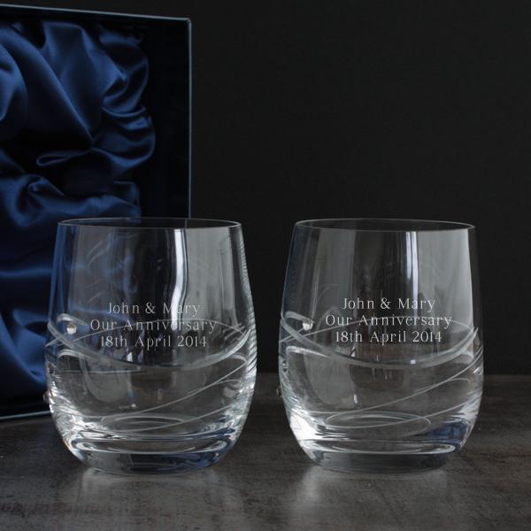 Pair Of Personalised Swarovski Crystal And Diamante Whisky Glasses