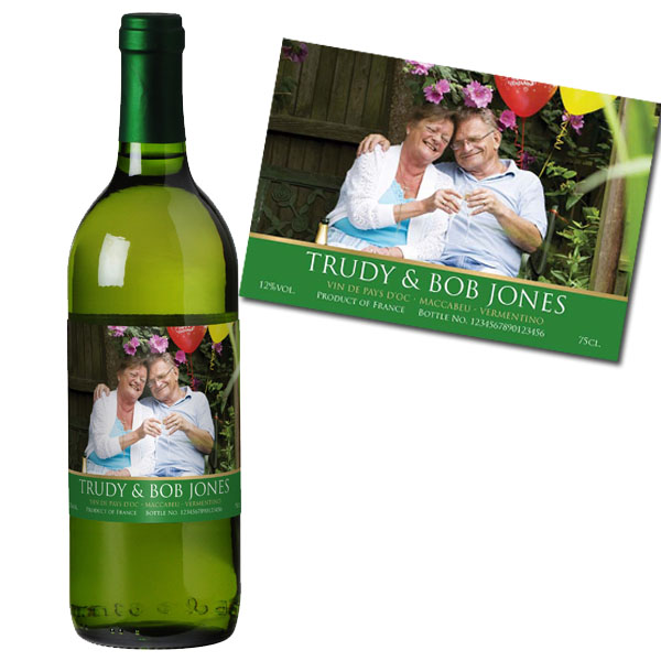 White Wine With Personalised Photo Label Gold Gift Carton