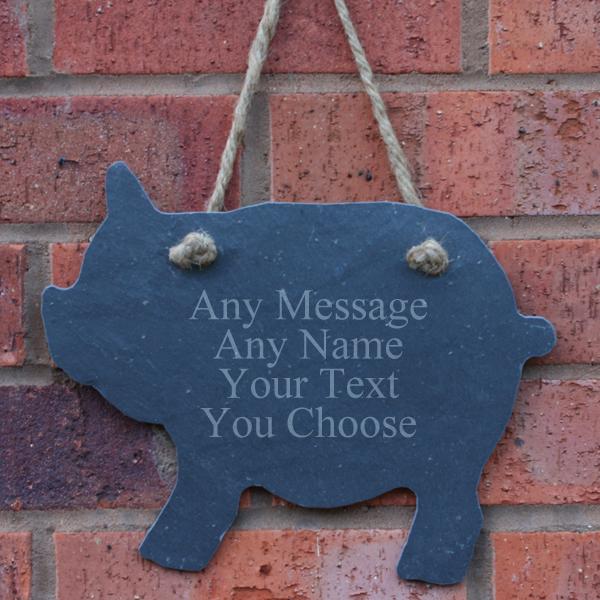Personalised Slate Pig - Pig Gifts