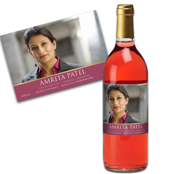 Rose Wine With Personalised Photo Label Gold Gift Carton