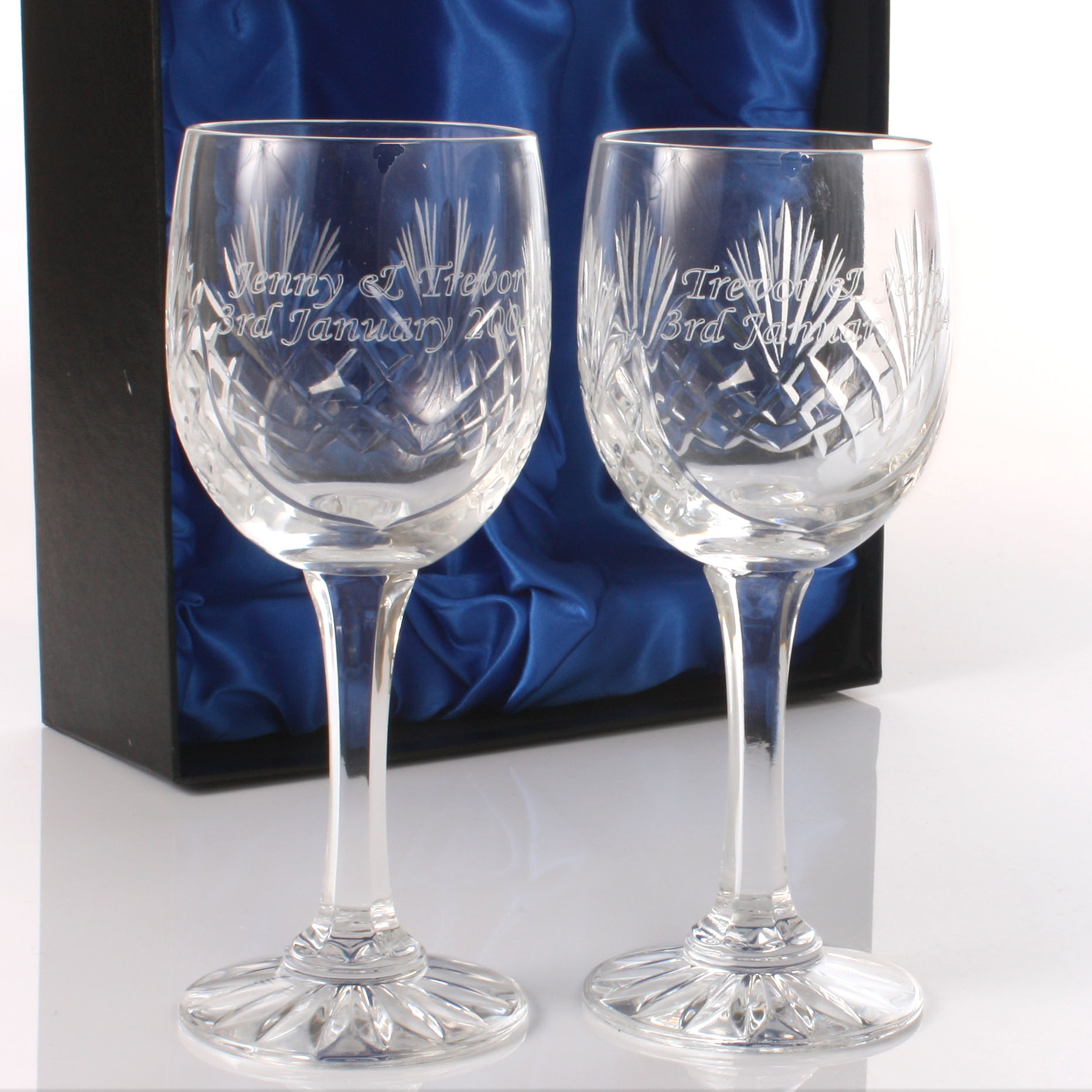 Valentines Day Gift - Engraved Cut Crystal Wine Glasses - Valentines Day Gifts