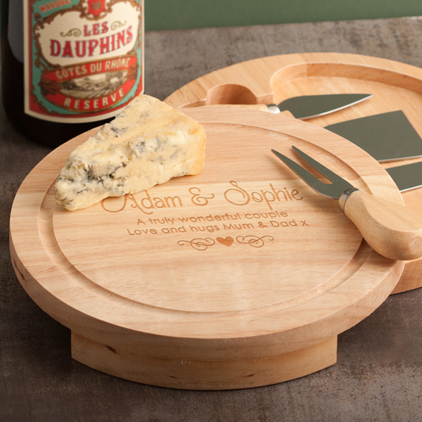 The Gift Experience Personalised Cheese Board and Knife Set