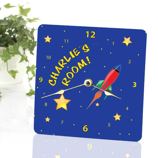Space Rocket Personalised Clock