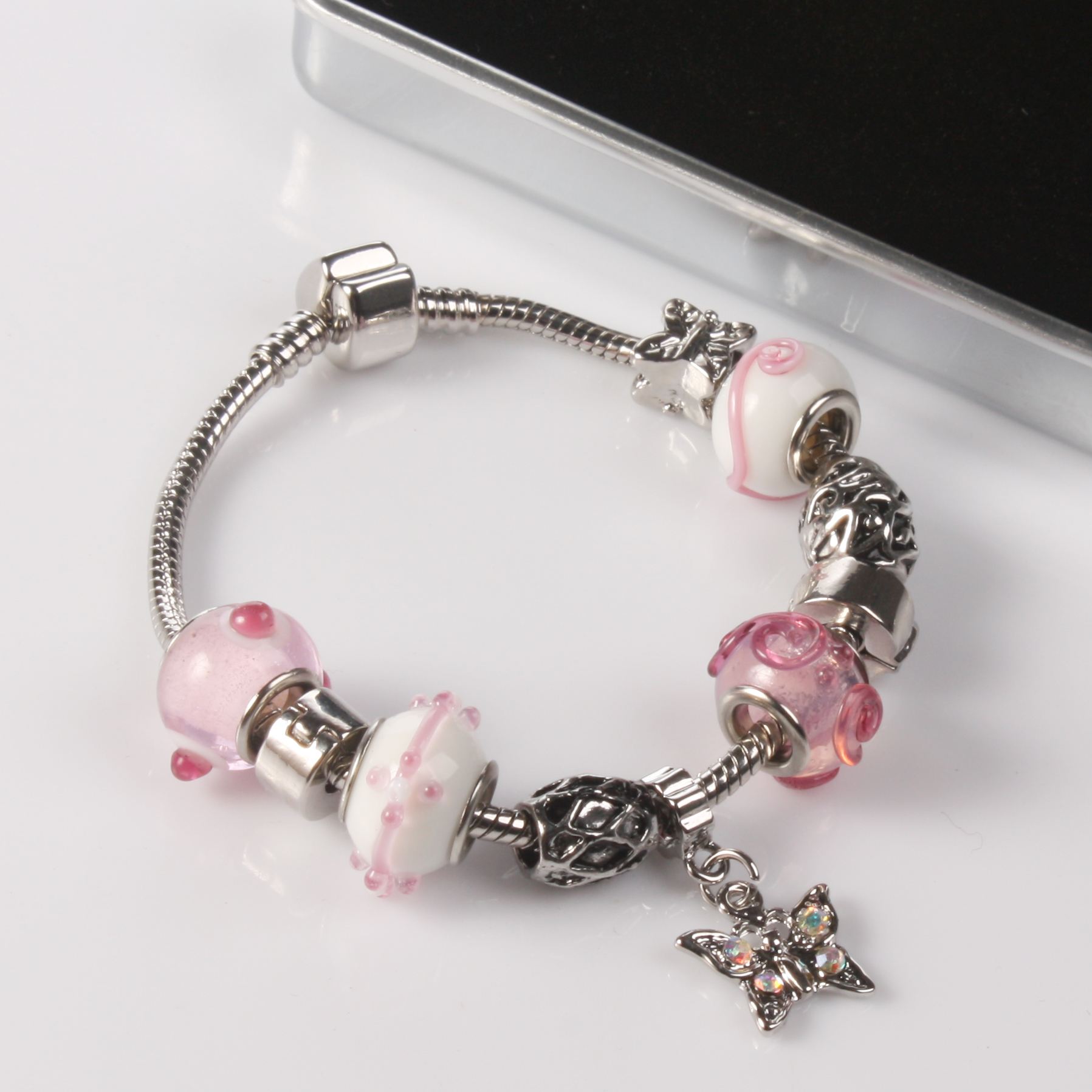 Ogle Charm Bracelet With Personalised Chrome Box - Sweet Pink Design - Jewellery Gifts