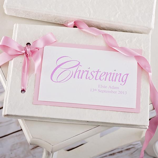 Personalised Handmade Christening Album  Pink Design