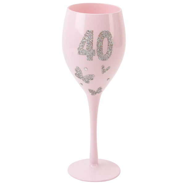 Pink 40th Birthday Wine Glass