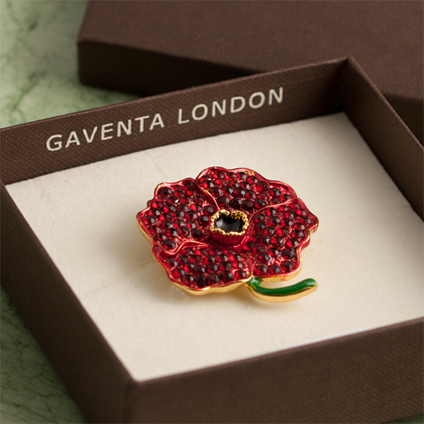 Red Crystal Poppy Brooch in Personalised Gift Box