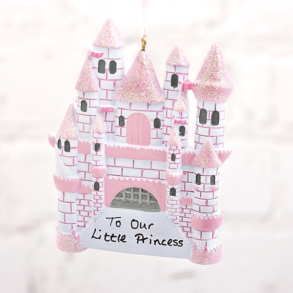 Personalised Pink Princess Castle Hanging Decoration - Princess Gifts