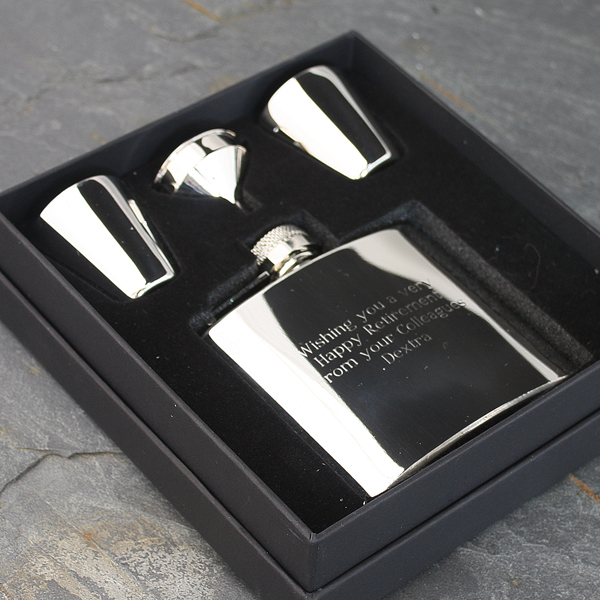 Engraved Stainless Steel Hip Flask Gift Set - Flask Gifts