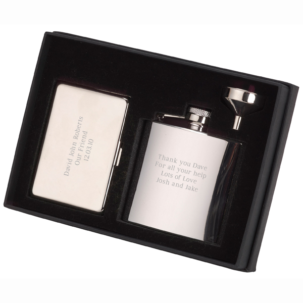 Engraved Hip Flask and Business Card Case Gift Set - Hip Flask Gifts