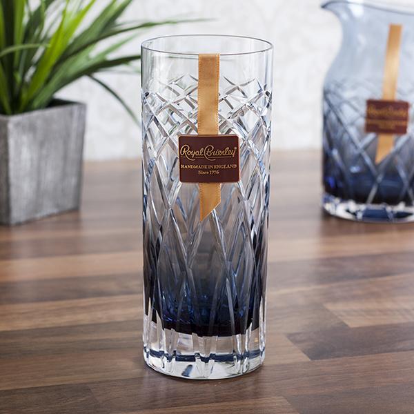 Royal Brierley Cut Crystal Harris Ink Blue Highball Glass