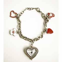 Charm Bracelet with Miniature Heart Clock