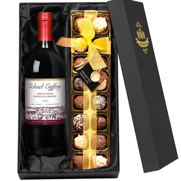 Personalised Red Wine With A Box Of Chocolate Truffles