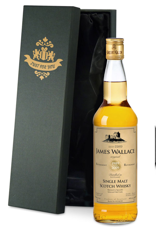 Personalised Retirement Malt Whisky Gold Gift Carton