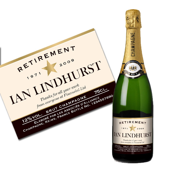 Personalised Retirement Champagne Bottle Only
