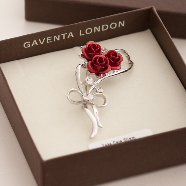 Red Roses And Crystal Brooch In Personalised Gift Box