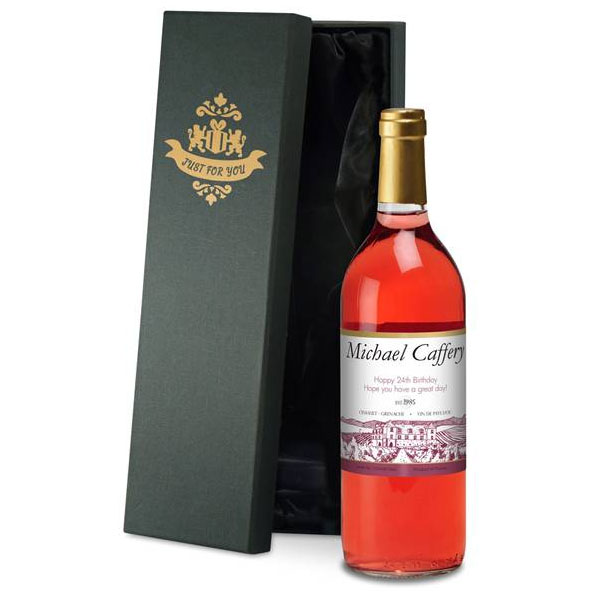 Personalised Rose Wine With A Box Of Chocolate Truffles