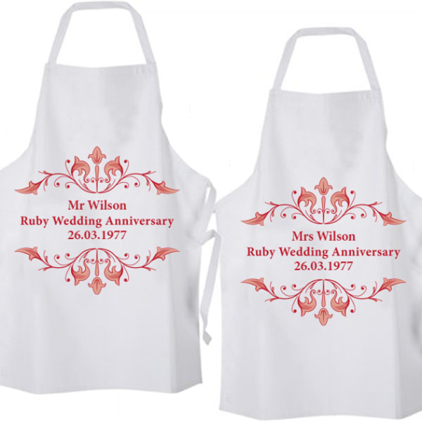 personalised ruby anniversary aprons