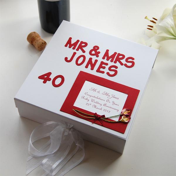 personalised ruby anniversary keepsake box standard