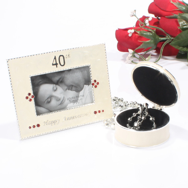 40th Anniversary Photo Frame and Trinket Box Set - 40th Gifts