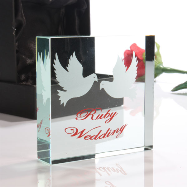 ruby anniversary paperweight