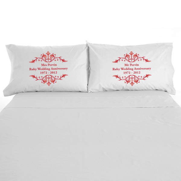 Personalised Ruby Anniversary Pillowcases - Ruby Wedding Anniversary Gifts