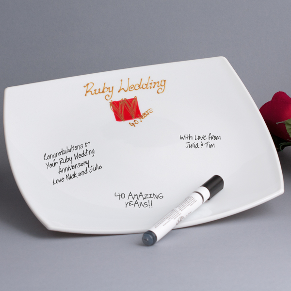 Ruby Anniversary Signature Plate - Ruby Wedding Anniversary Gifts