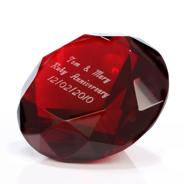 ruby crystal paperweight