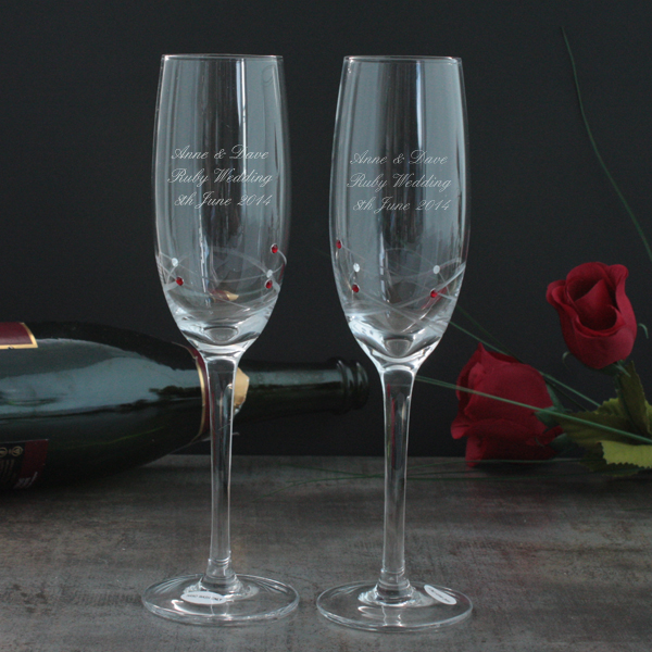 Pair Of Personalised Swirl Champagne Flutes With Ruby Crystals