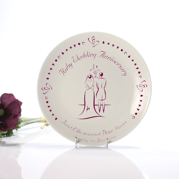 Ruby Anniversary Plate - Ruby Wedding Anniversary Gifts