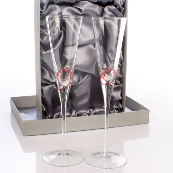 Personalised Ruby Swirl Champagne Flutes - Champagne Gifts