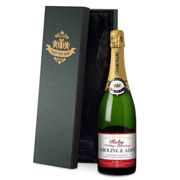 Personalised Ruby Anniversary Champagne Luxury Gift Box - Ruby Wedding Anniversary Gifts