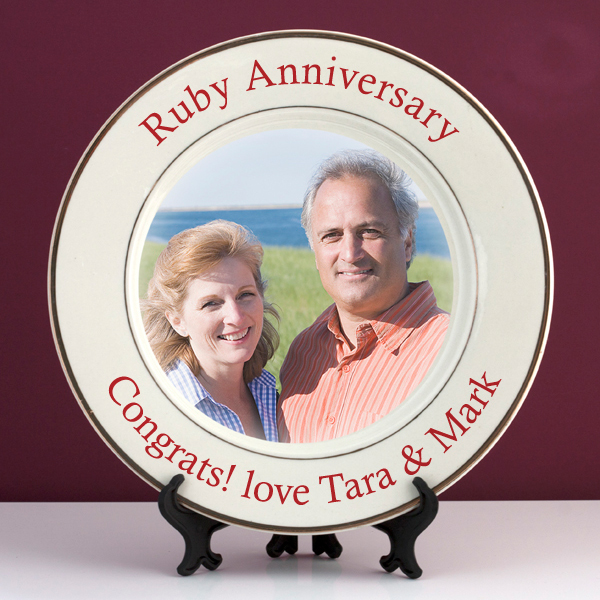 Personalised Ruby Wedding Anniversary Photo Plate - Ruby Wedding Anniversary Gifts