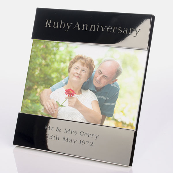 Engraved Ruby Anniversary Photo Frame - Ruby Wedding Anniversary Gifts