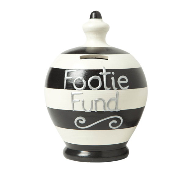 Personalised Footie Fund Terramundi Money Pot Red and White Stripe