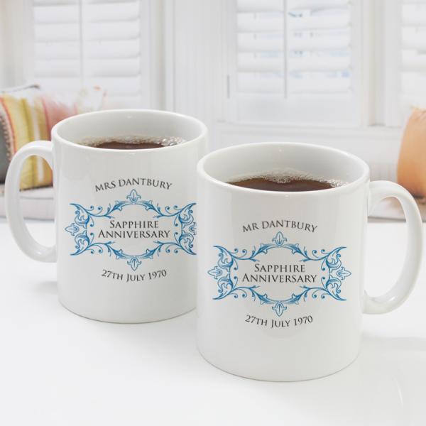 pair of personalised sapphire anniversary mugs
