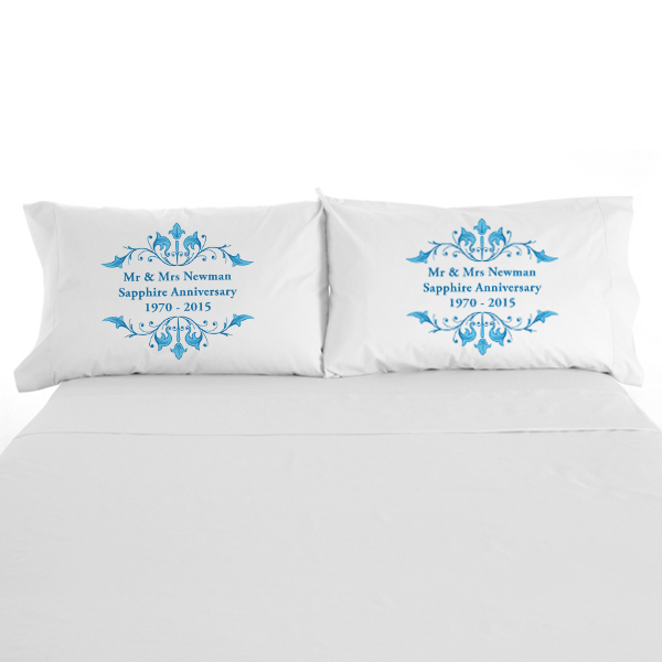 Personalised Sapphire Anniversary Pillowcases