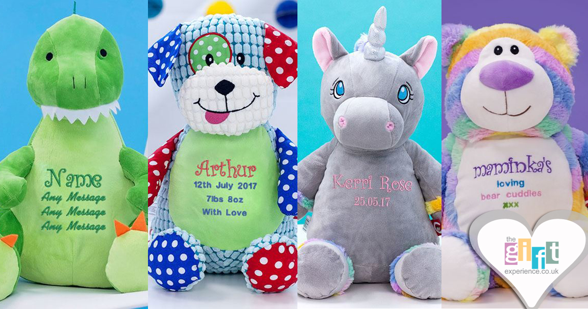 Collection of cuddly toys that can be embroidered with a personalised message