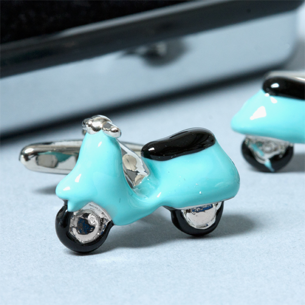 Personalised Blue Scooter Cufflinks - Scooter Gifts
