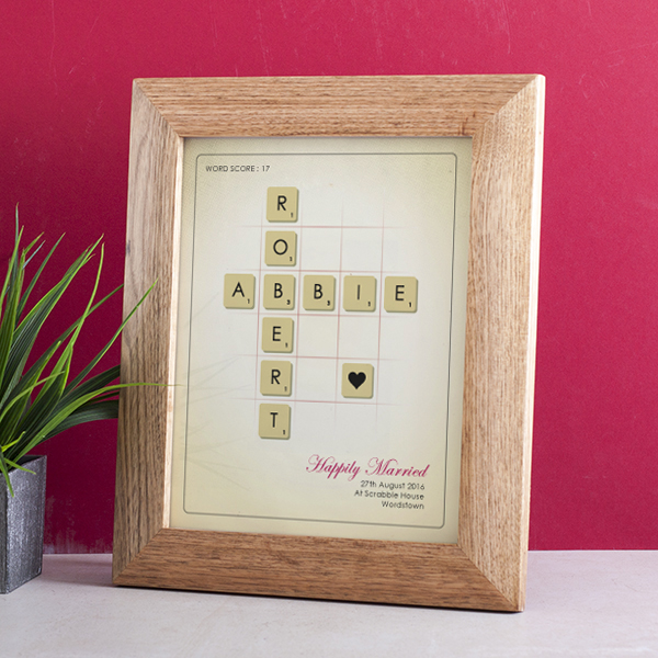 Personalised Scrabble Tiles Framed Print In Oak Frame - Scrabble Gifts