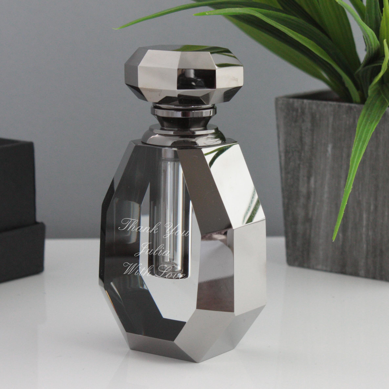 Personalised Sophia Smoked Glass Shouldered Perfume Bottle - Perfume Gifts